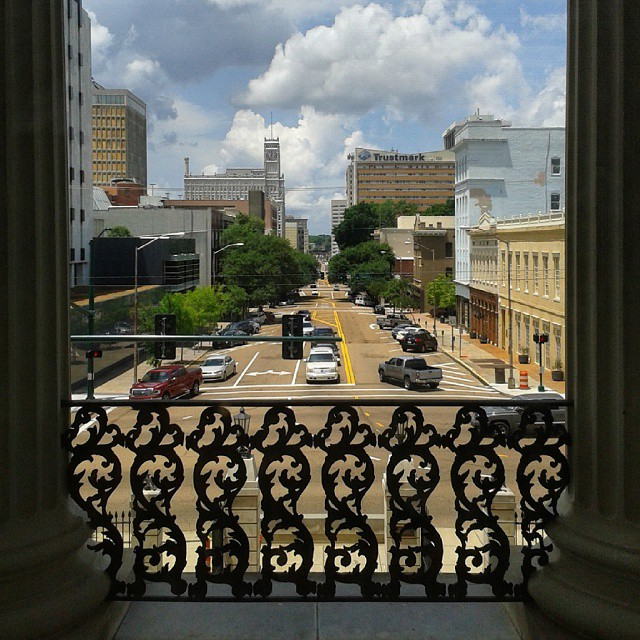 Looking down Capitol St from the Old Mississippi State Capitol in Jackson, Mississippi.